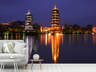 Double towers in guilin nightscape