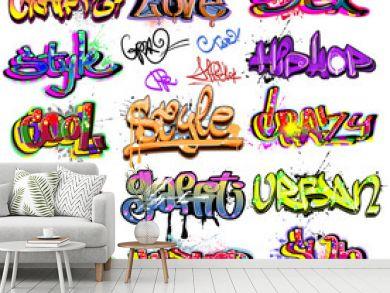 Graffiti vector background collection. Hip-hop design