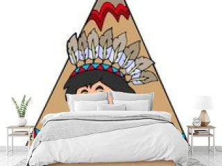 Indian in small tepee