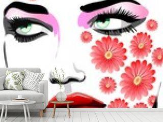 Ragazza Con Tatuaggi di Fiori-Girl with Flowers Tattoos-Vector