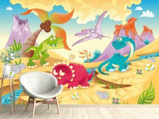 Dinosaurs Family. Funny cartoon and vector characters
