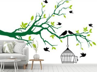 spring tree with birdcage and kissing birds