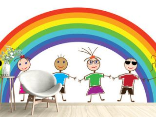 vector funny people and rainbow