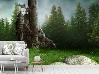 Zamek fantasy w lesie