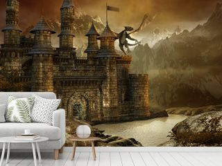 Zamek fantasy w górach nad jeziorem