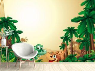 Dinosauri Cuccioli Sfondo-Baby Dinosaur Tropical Background