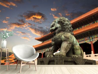 the forbidden city with sunset glow in beijing