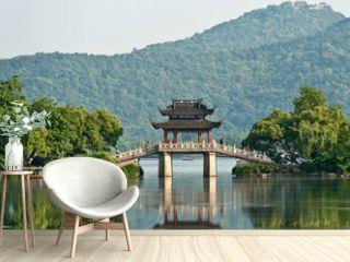 Old bridge over a lake, China