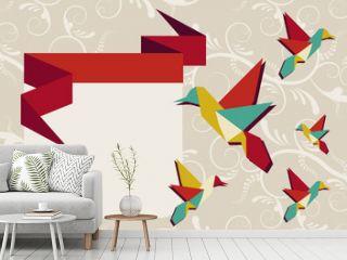 Origami hummingbird group greeting card