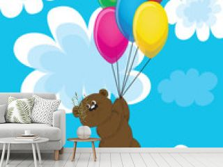 Bear on balls in clouds.