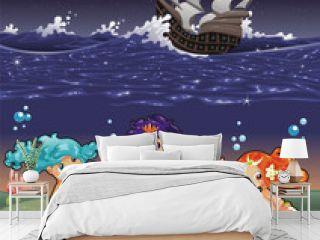 Baby Sirens under the sea.Vector illustration.