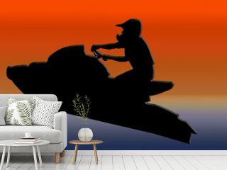 Sunset Back Jet-ski Racer Jumping
