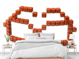 Glasses icon made of orange cubes