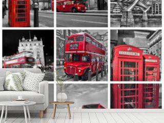 Collage carré bus, téléphone, big ben, couleur rouge et noir et blanc à Londres (UK)