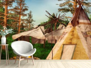 Indiański wigwam w lesie