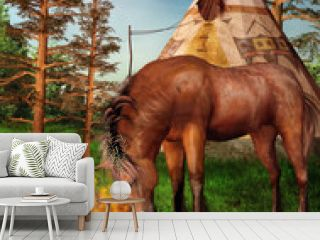 Koń na tle indiańskiego obozu