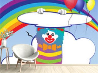 Vector illustration with a clown and baloons