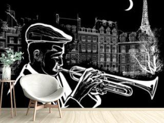 trumpeter on a grunge background