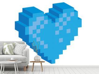 3D Pixel blue heart - illustration