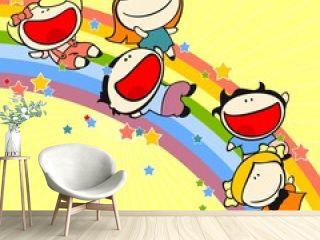 Kids sliding on a rainbow