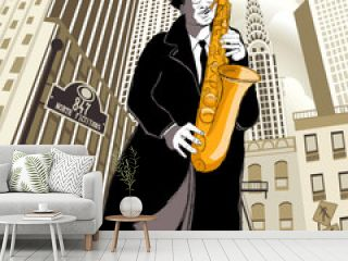 saxophone player in a street