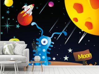 extraterrestres en la luna en vector