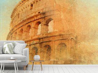 great antique Rome - Coloseum , artwork in retro style