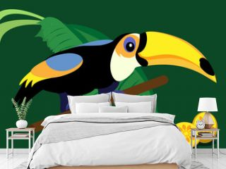 Funny cartoon toucan on green background