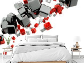 3d abstract background with glossy red and black cubes