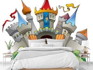 Medieval castle, cartoon vector illustration