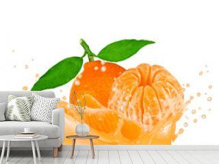 Splash with tangerine isolated on white