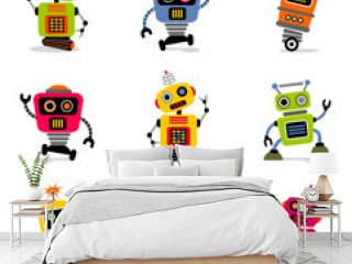 et of cute vector retro robots 2