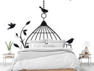 free birds with open birdcage, vector