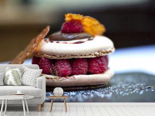 Macaron, gâteau, pâtisserie, dessert, framboise, gourmet
