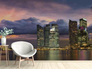 Singapore City Skyline at Sunset Panorama