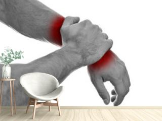 Close up view of male hands with wrist pain. Isolated