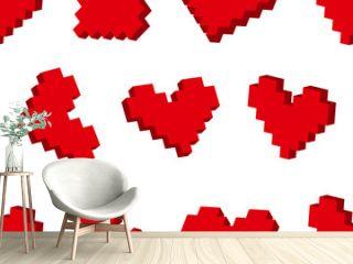 Pixel hearts seamless background pattern. Vector illustration.