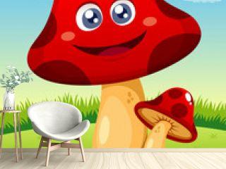 illustration of Happy cartoon red mushroom vector