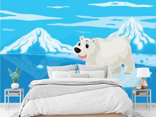 polar bear and snowy mountain