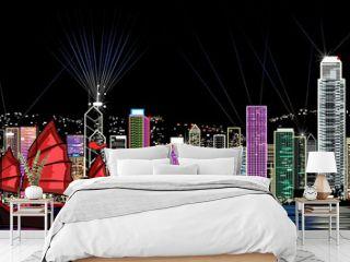 vector illustration of Hong Kong by night