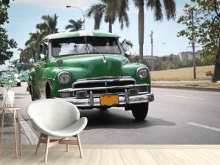 Classic green Plymouth in new Havana