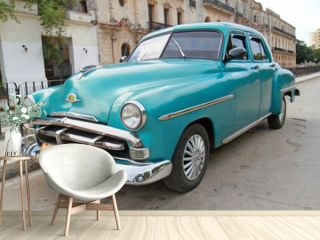 Classic blue Plymouth in Havana. Cuba.