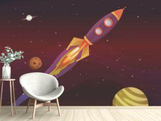 Cartoon Spaceship Flying Into Galaxy