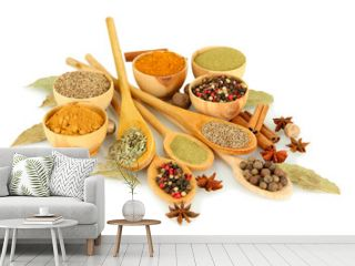 wooden bowls and spoons with spices isolated on white