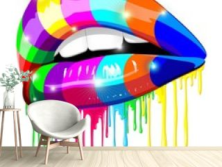 Sensual Lips Psychedelic Rainbow Paint-Labbra Arcobaleno