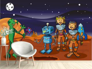 Space meeting children-astronauts and alien on Mars