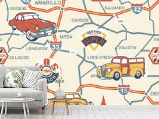 Cute route map seamless pattern