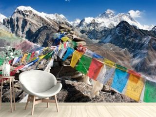view of everest from gokyo ri with prayer flags - Nepal