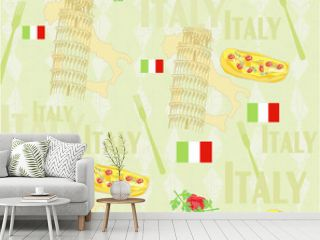 Italy travel seamless pattern with national italian food, sights