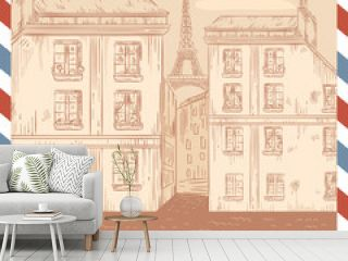 Retro-styled France postcard on air mail frame background